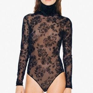 Floral Sheer Mesh Turtleneck Long Sleeve Bodysuit